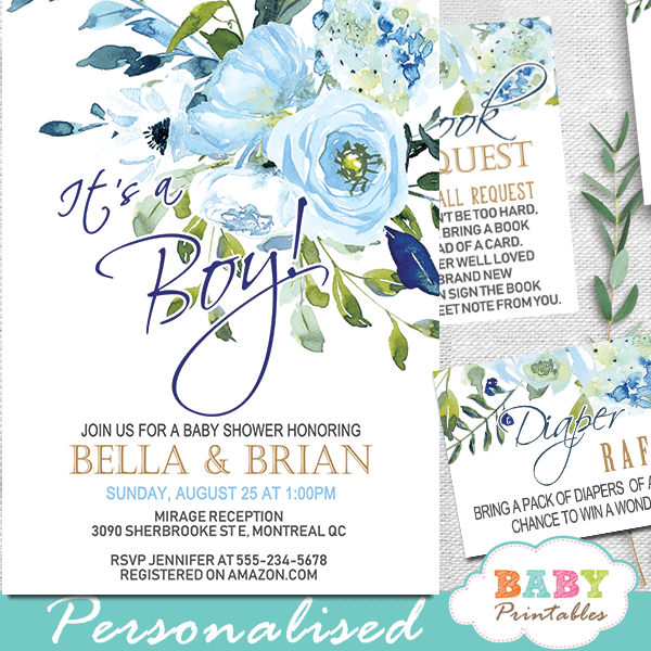 floral blue roses baby shower invitations boys gold
