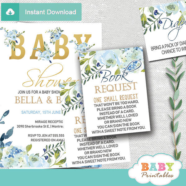 floral blue roses book request cards boys