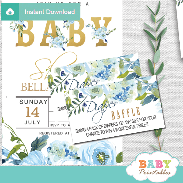floral blue roses diaper raffle tickets boy