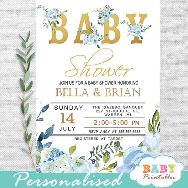 floral blue roses baby shower invitations boys gold greenery