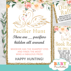 swan baby shower games floral pink gold theme