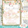 swan baby shower invitations floral pink gold theme