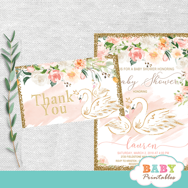 swan baby shower thank you cards floral pink gold theme