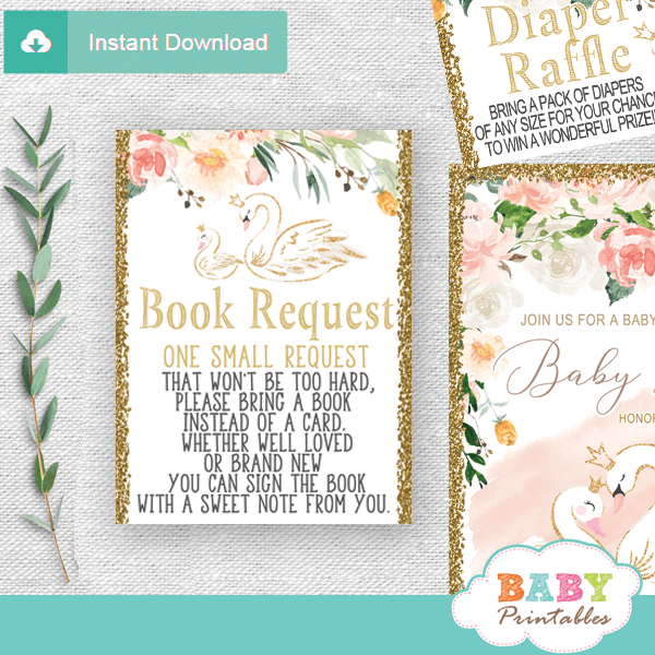 swan invitation inserts book request floral pink gold