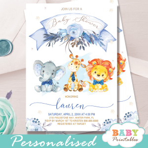 floral blue safari baby shower invitations jungle animals boy theme bow tie