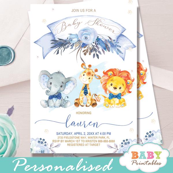 Safari Baby Shower Invitations D130