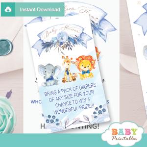 floral blue safari diaper raffle tickets bow tie boys