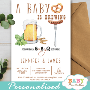 couples babyq baby shower invitations beer bbq gender neutral