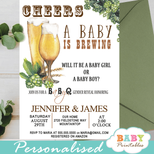 babyq beer gender reveal invitations boy or girl