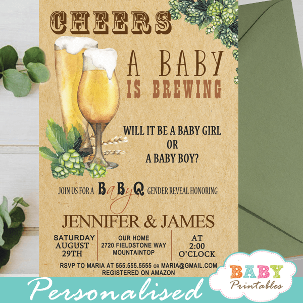 backyard bbq beer gender reveal invitations boy or girl