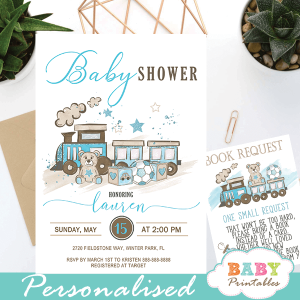 blue teddy bear baby shower invites boy