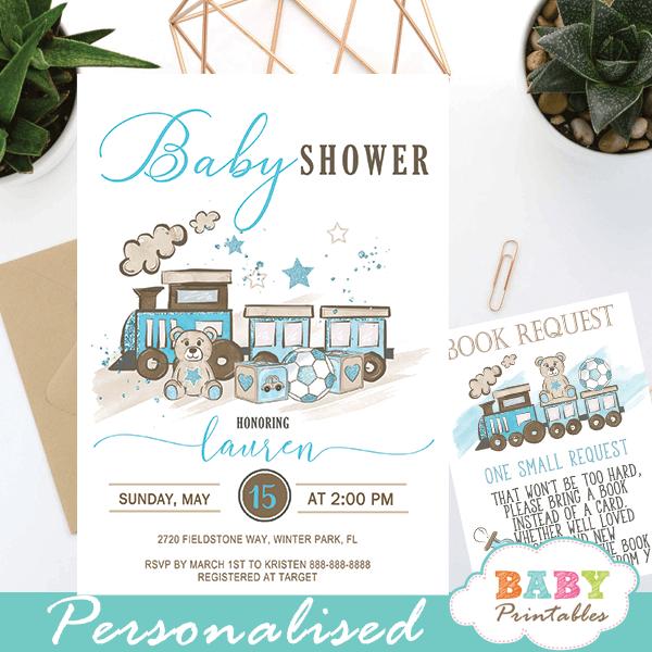 blue teddy bear baby shower invites boy