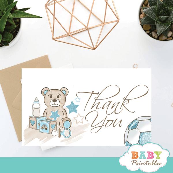 blue teddy bear thank you cards baby shower boy