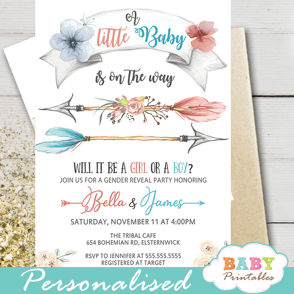 boho arrows gender reveal invitations tribal theme boy or girl