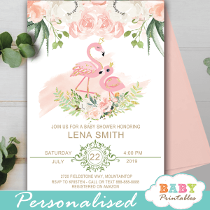flamingo baby shower invites floral ivory blush pink gold girl theme