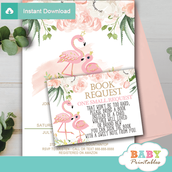 flamingo book request cards floral ivory blush pink girl