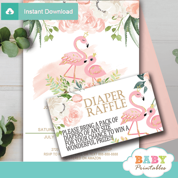 flamingo diaper raffle tickets ivory blush pink gold girl