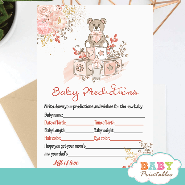 pink teddy bear baby shower games girls