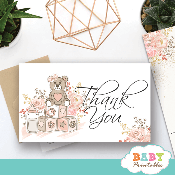 pink teddy bear thank you cards girl baby shower