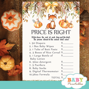 fall theme fox baby shower games pumpkin