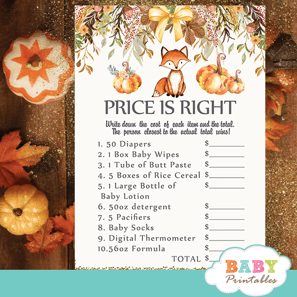 fall theme fox baby shower games pumpkin