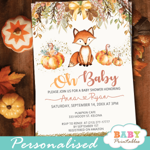 fall theme fox baby shower invitations pumpkin autumn