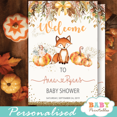 fall theme fox baby shower signs floral pumpkin welcome