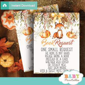 fall theme fox invitation inserts book request pumpkin