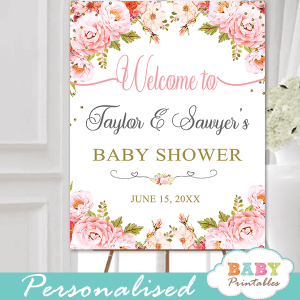 pink roses floral baby shower signs girl gold glitter
