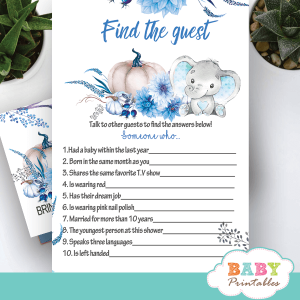 blue fall pumpkin elephant baby shower games autumn theme boy ideas