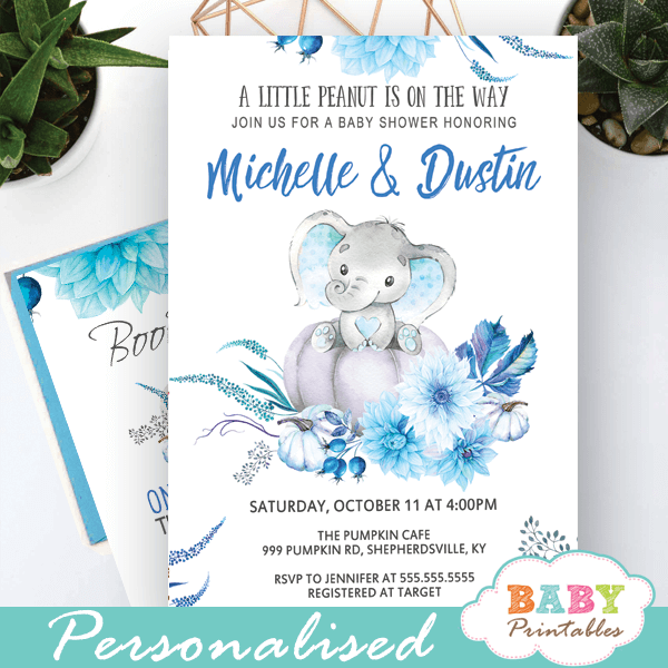 blue fall pumpkin elephant baby shower invitations boys