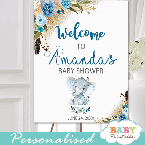 blue boho floral boy elephant baby shower signs little peanut
