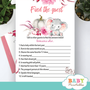 burgundy fall pumpkin elephant baby shower games pink girl ideas