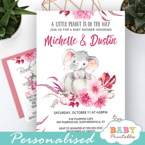burgundy fall pumpkin elephant baby shower invitations girl pink ideas elegant