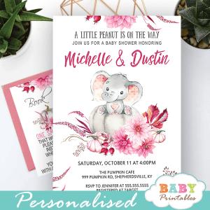burgundy fall pumpkin elephant baby shower invitations girl pink ideas elegant