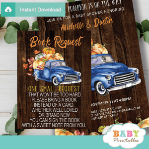 fall barnwood blue truck pumpkin book request cards inserts