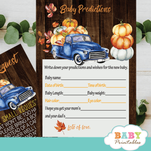 fall barnwood blue truck pumpkin baby shower games