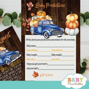 fall barnwood blue truck pumpkin baby shower games
