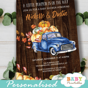 fall barnwood blue truck pumpkin baby shower invites boys ideas