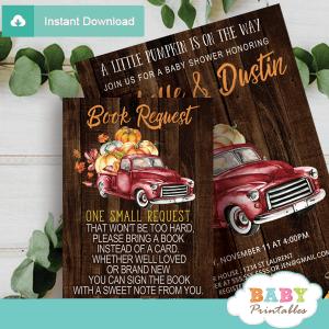 fall barnwood red truck pumpkin book request invitation inserts