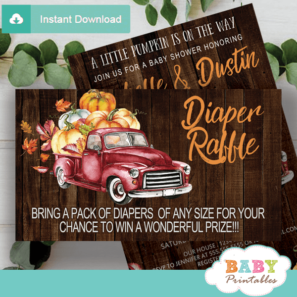 fall barnwood red truck pumpkin diaper raffle tickets baby shower prize