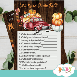 fall barnwood red truck pumpkin baby shower games