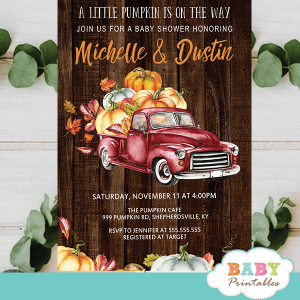 fall barnwood red truck pumpkin baby shower invites boys ideas