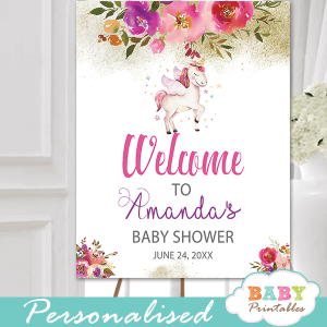 unicorn baby shower signs pink floral theme ideas girl