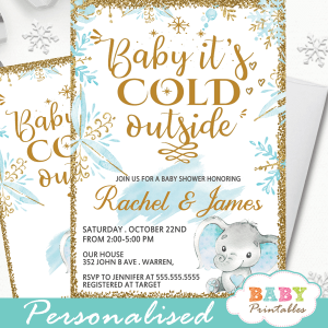 blue gold snowflake baby it's cold outsdie elephant baby shower invitations winter theme