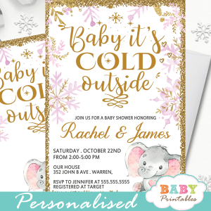 pink gold snowflake baby it's cold outsdie elephant baby shower invitations winter theme