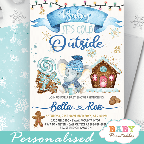 holiday gingerbread cookies blue elephant baby it's cold outside invites winter baby shower theme boys