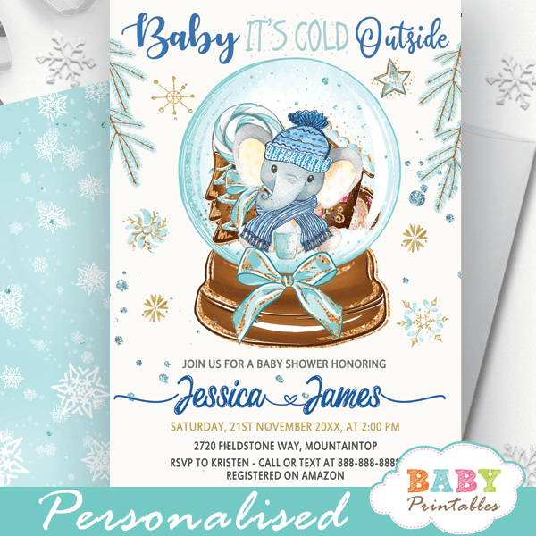 blue elephant snowglobe baby it's cold outside invites baby shower boy winter theme