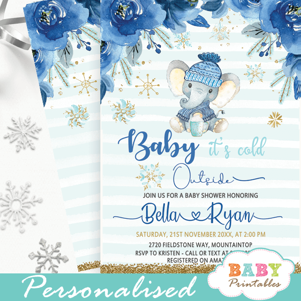 blue roses winter elephant baby shower invitations boys