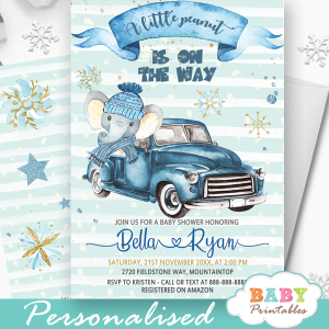 blue vintage truck elephant baby shower invites winter theme boys